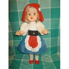 Редкая! ЭТИКЕТКА! Кукла Красная Шапочка  Москва  ф -ка сувенирных и подарочных игрушек 80е годы